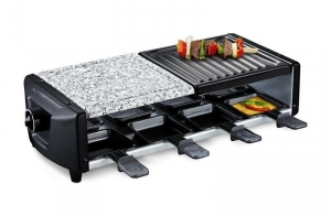 Raclette grill y piedra con 8 mini sartenes